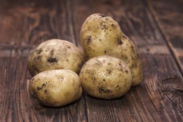 Freshly picked potatoes.