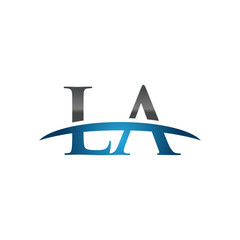 LA initial company swoosh logo blue