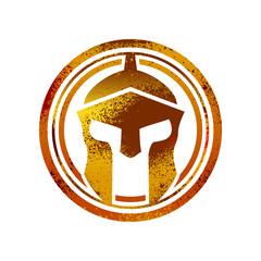 Rusty Gold Spartan Helmet