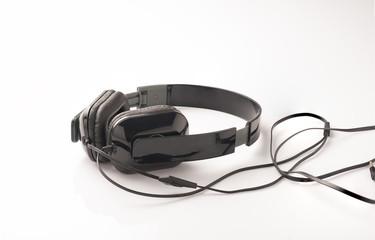 Black headphone on a white background.