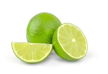 Sliced Fresh lime fruit isolated on white background