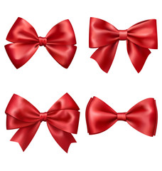 Set Collection of Festive Red Satin Bows Isolated on White Backg