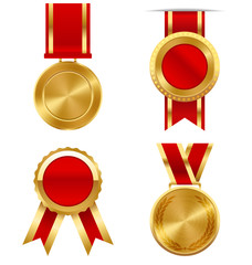 Golden Premium Quality Best Labels Medals Collection Isolated on