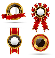 Golden Red Black Premium Quality Best Labels Collection Isolated