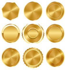 Golden Premium Quality Best Labels Medals Collection on White Ba