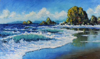 seascape, waves, rocks, clouds, oil painting