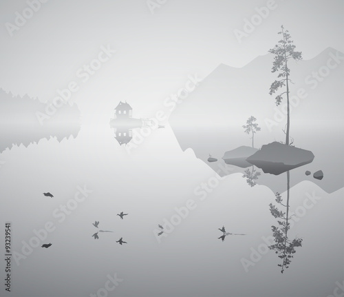 Wall mural landscape with lake