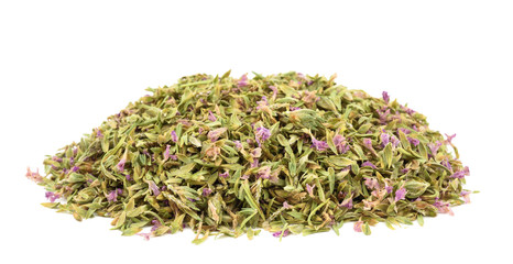 Dried Thyme with flowers isolated on white