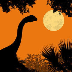 Dinosaur silhouette on beautiful forest