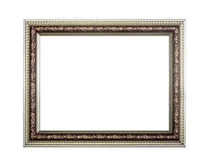 Silver picture frame with a leaves detail isolated on white background