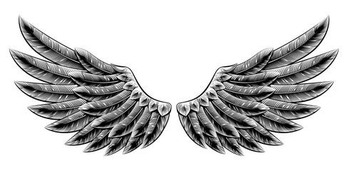 Vintage woodcut wings