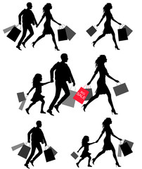 silhouettes of people shoping