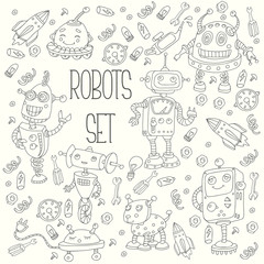 Robots cartoon cute children doodle set vector collection illustration