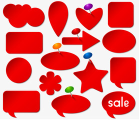 Red stickers set with colored pushpins. Vector illustration