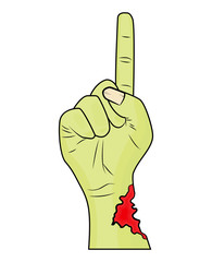 Zombie hand finger up gesture halloween vector - realistic cartoon isolated illustration. Image of scary monster hand gesture pointing up with torn, riven green skin.