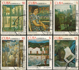 CUBA - CIRCA 1979: A stamp printed in Cuba reproductions of paintings by renowned Cuban artist Victor Manuel Garcia Valdes, circa 1979