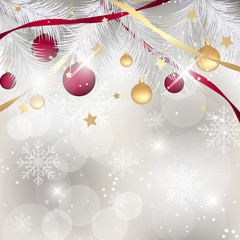 Christmas background with baubles, ribbons and pine needles. Happy New Year vector illustration.