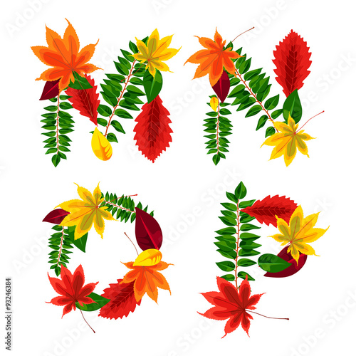 Set of autumn letters composed of beautiful red, yellow, green and