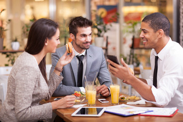 Business people enjoy in lunch at restaurant