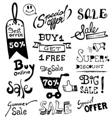 Doodles Hand Drawn vector, Sale hand drawn typography,