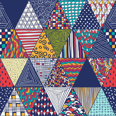geometric pattern with colored triangles