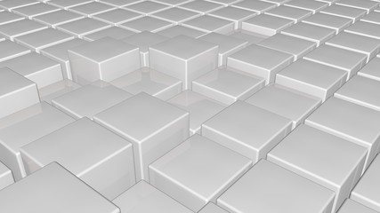 3d glossy white plastic cubes field background