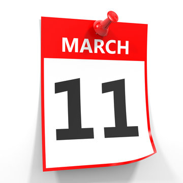 11 march calendar sheet with red pin.