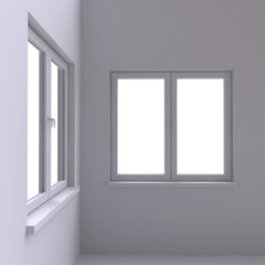 Two white window in the corner of the room.