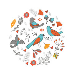 Colorful round composition with birds and flowers