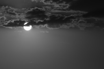 full moon in the dark night, black and white monochrome image