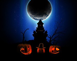 Fototapete - 3D Halloween background with pumpkins, spooky castle silhouette