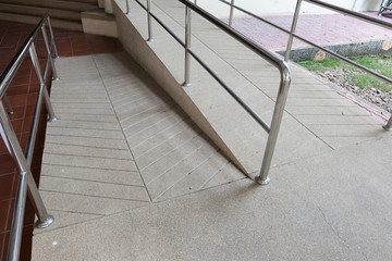 ramp way for support wheelchair disabled people made from sand a