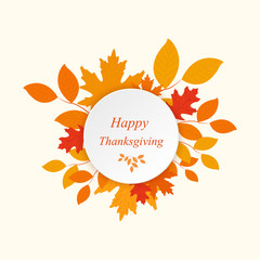 Happy Thanksgiving with autumn leaves vector