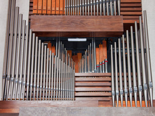Part of the pipework of a large church organ