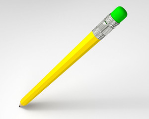 Pencil with eraser 3d render isolated on white background