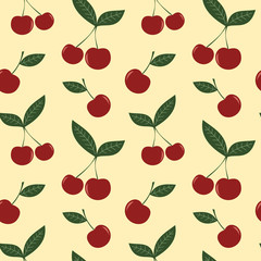 cute cherry seamless vector pattern background illustration