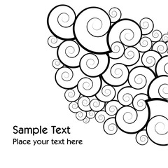 A decorative black and white vector design with space for text