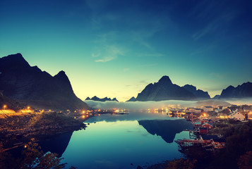 Foto op Plexiglas Scandinavië mist in sunset time Reine Village, Lofoten Islands, Norway