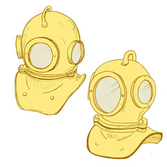 Retro diving suit helmet