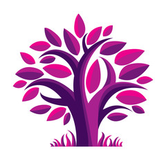 Art fairy illustration of purple tree, stylized eco symbol.