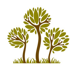 Art fairy illustration of tree, eco symbol. Insight vector