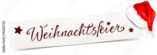 banner mit m tze weihnachtsfeier stockfotos und. Black Bedroom Furniture Sets. Home Design Ideas