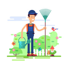 Attractive gardener man standing in garden in coverall with rake and watering can. Modern male character - young farmer friendly smiling. Stock vector illustration in flat design.