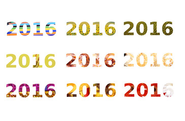 Nine different style of text for Happy New Year 2016