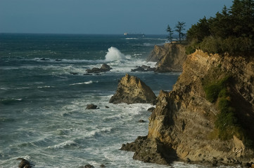 Oregon Coast and Ship