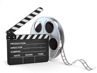 movie clapper and film reel 3d illustration
