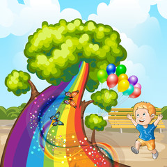 Illustration of a closeup tree with rainbow