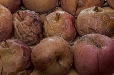 Naturaleza muerta, manzanas deshidratadas,secas,