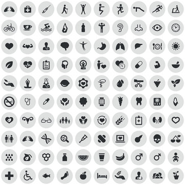 health 100 icons universal set
