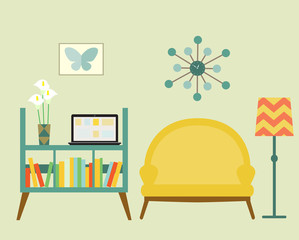 Bookcase and sofa with lamp. Flat style vector illustration.